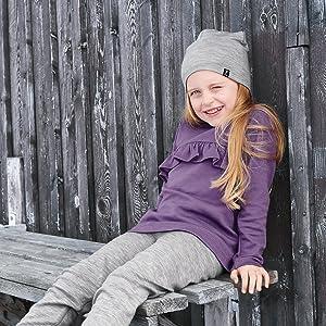 Pyret Kinder Merinowollpullover mit langem Arm Dark Navy Polarn O