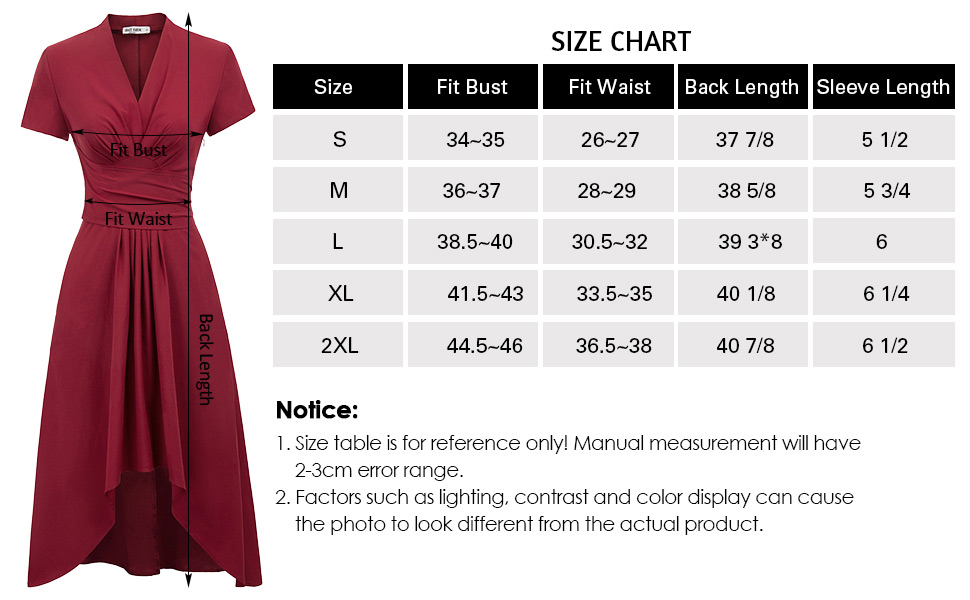 Women 1950s Retro Party Prom Dress Summer Vintage Wrap Front High-Low A-Line Swing Dress