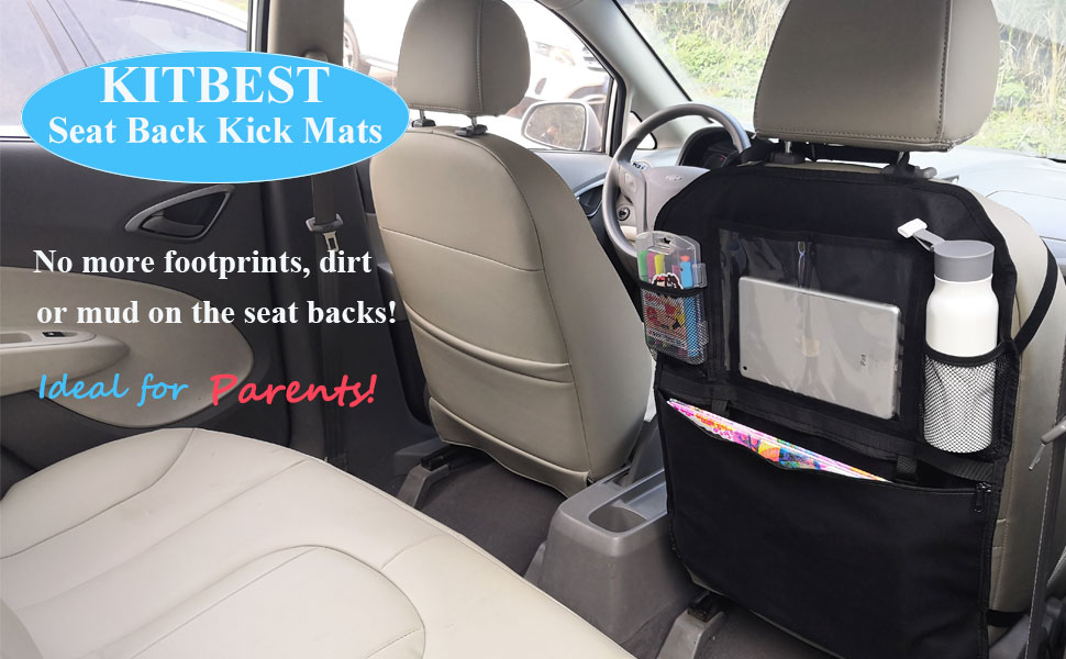 CAR SEAT KICK MATS Back Protector Cover Organizer Children Clean Care 2 Pack Set