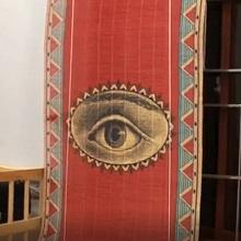 eye printed bamboo blind