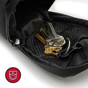 mesh pocket, key holder, saddle bag