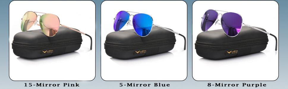 Mirror lens pink blue purple