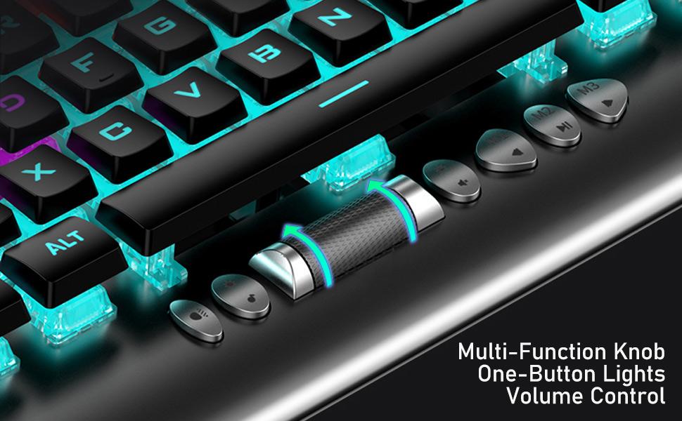 AULA F2099 Teclados Mecánico para Juegos, RGB LED Mezclado con Retroiluminación PC Computadora Teclados, 104-Teclas Anti-Fantasma Multimedia Control ...