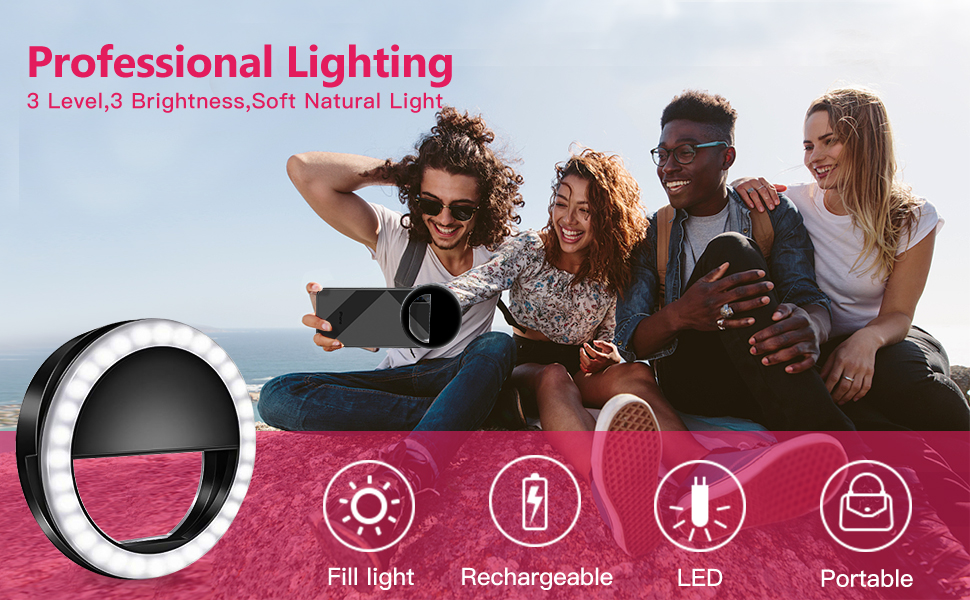 Cell Phone Selfie Ring light for iPhone Rechargeable Clip On Led O Ring Light
