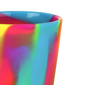 Image shows a close-up of a colorful Silipint cup and features text about the Silipint brand.