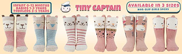Girls infant little kids big kids 0-12m 1-3 years gripper animal long tube knee socks cute farm pink