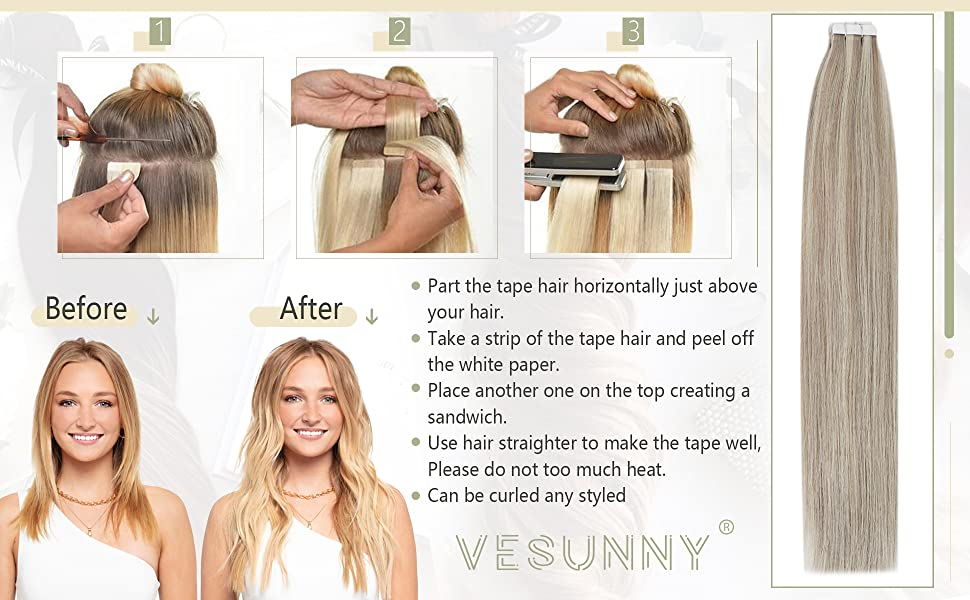 Tape in Extensions Blonde Human Hair