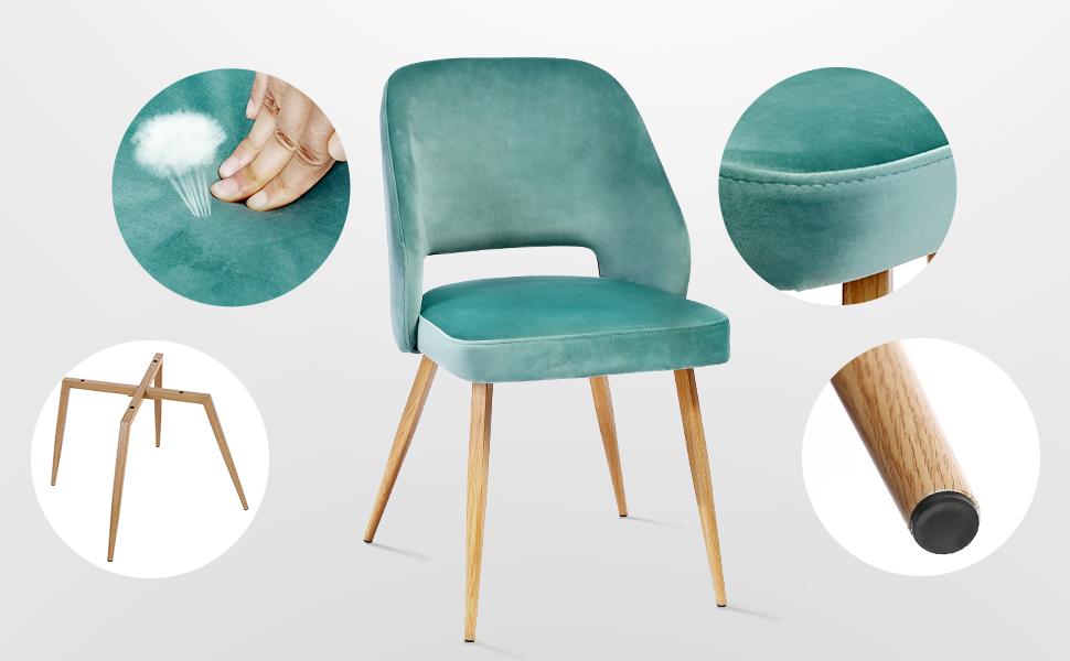 SONGMICS Set di 2 Sedie da Pranzo, Sedia per Il Tempo Libero in Velluto Vintage, Sedie da Cucina Imbottite con Gambe Metalliche, per Soggiorno, Verde