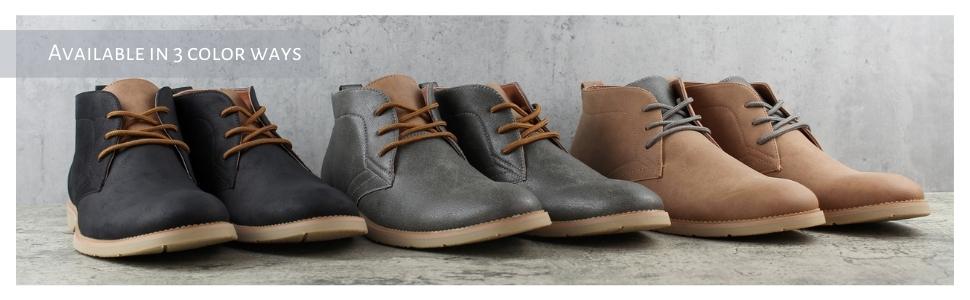 other color ways available, brown, grey, black, chukka boots, desert chukka, casual chukka, leather