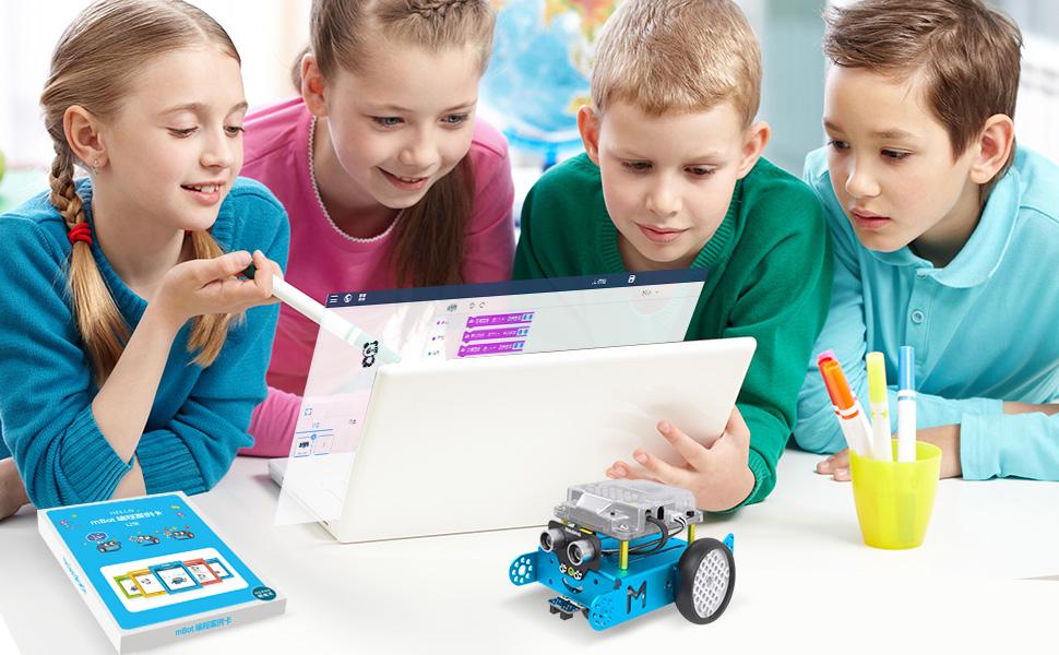 Makeblock mBot Kit de Voiture de Robot, Kit de Robot de Codage avec Programmation Scratch / Arduino