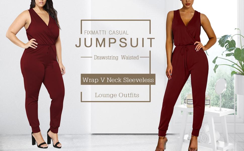 Fixmatti Women V neck Jumpsuits sleeveless long pant rompers casual