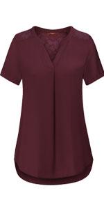 women short sleeve v neck chiffon lace trim work dressy blouses and tops for leggings