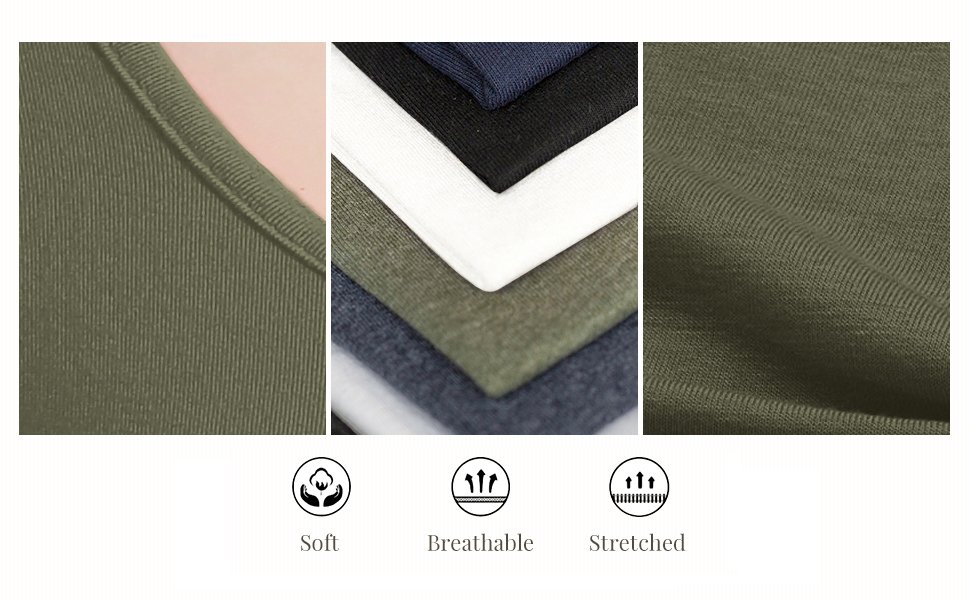 Soft and elastic cotton fabric is light and comfortable to wear