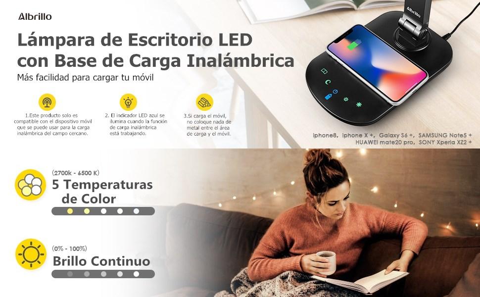 Albrillo Lámpara Escritorio LED con Base de Carga Inalámbrica y ...