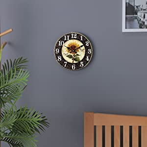 Vintage Sunflower Wall Clocks Rustic Farmhouse French Tuscan Country Kitchen Home Decor