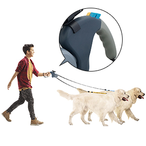 Dual 10 ft Tangle Free Dog Walking Leashes with Bright Flashlight for S to L Dogs up to 110 lbs,Walk 2 Dogs with 1 Non Slip Grip,One Button Break /& Lock LOVSHARE Double Dog Retractable Leash Grey