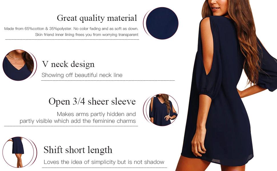 open sleeve cold sholder cocktail loose fitting casual dress v neck