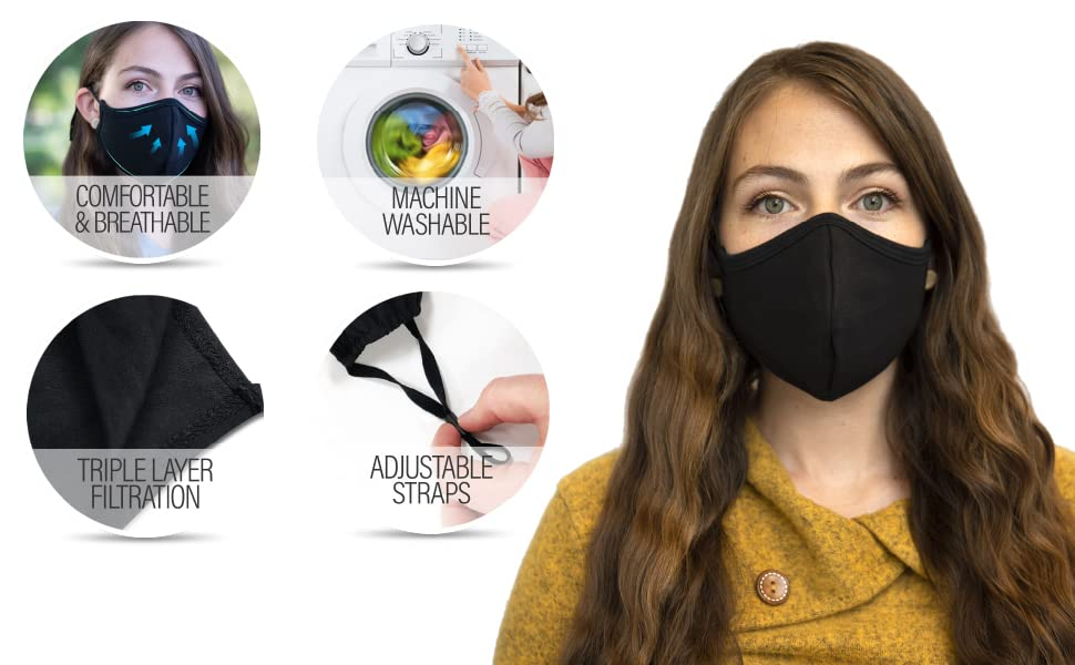 Reusable Mouth Mask with Adjustable Elastic Ear Straps, Face Mask for Dust and Travel, Black