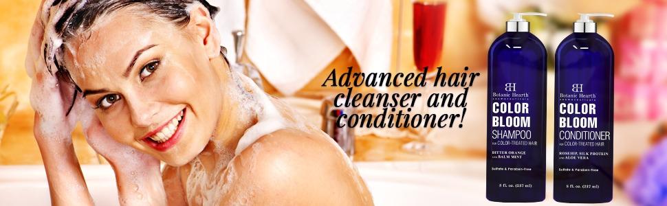 botanic hearth color bloom shampoo conditioner set safe natural paraben free hydrate nourish damaged