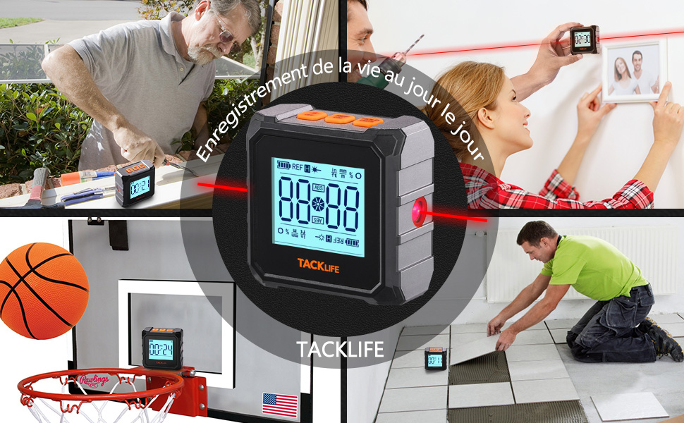 Rapporteur d/'Angle Alliage de Mini Inclinomètre Numérique 90° Tacklife MDP03