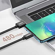 UGREEN USB-C to USB A Cable USB C Charger Type C Fast Charging Braided 2 Pack