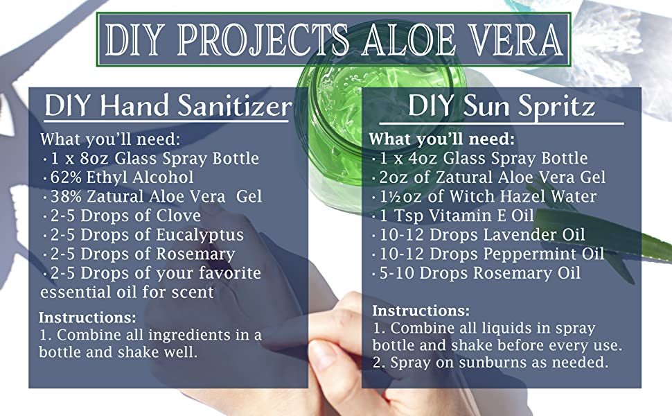 Aloe Gel DIY Hand Sanitizer and Sunburn Spritz