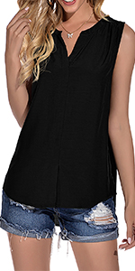 Women's Casual Sleevess V Neck Tops