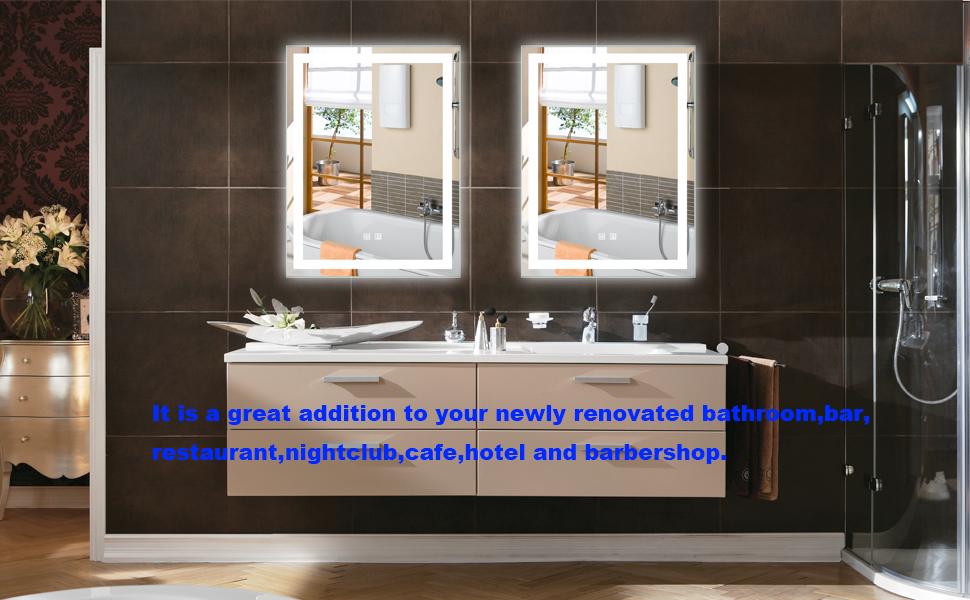 Smart LED Lighted Vanity Makeup Bathroom Wall Mounted Mirror