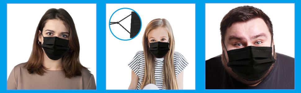 black disposable face masks