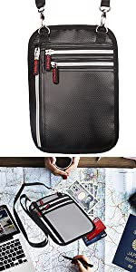 travel neck pouch, can be slanted or hung around the neck, protect your valuables when traveling