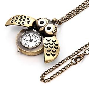 Orologio tascabile da donna e uomo, con gufo, bronzo
