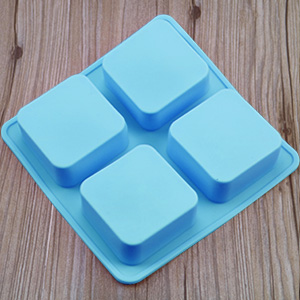4 Cavities Blue Silicone Soap Mold for Soap Making Cavity Size 2.5 x 2.5 x 1.25 PERNY Square Soap Molds 3 Pack