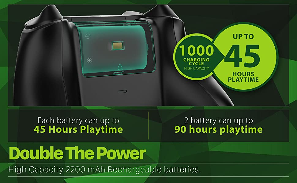 100 charging cycles, high capacity, up to 45 hours playing time