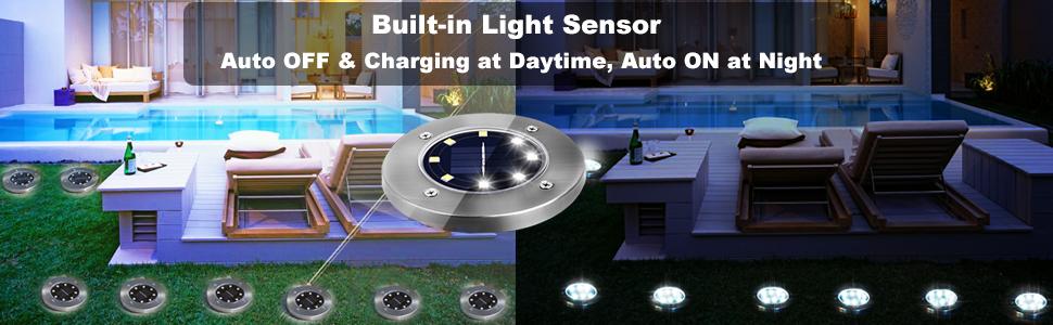 solar puck lights with lighting sensor