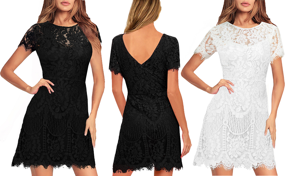 Women's Elegant Round Neck Short Sleeves V-Back Floral Lace Cocktail Party A Line Dress wedding