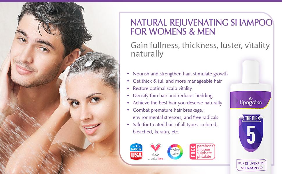 Lipogaine Hair Stimulating Shampoo for Hair Thinning & Breakage, for All  Hair Types, Men and Women,
