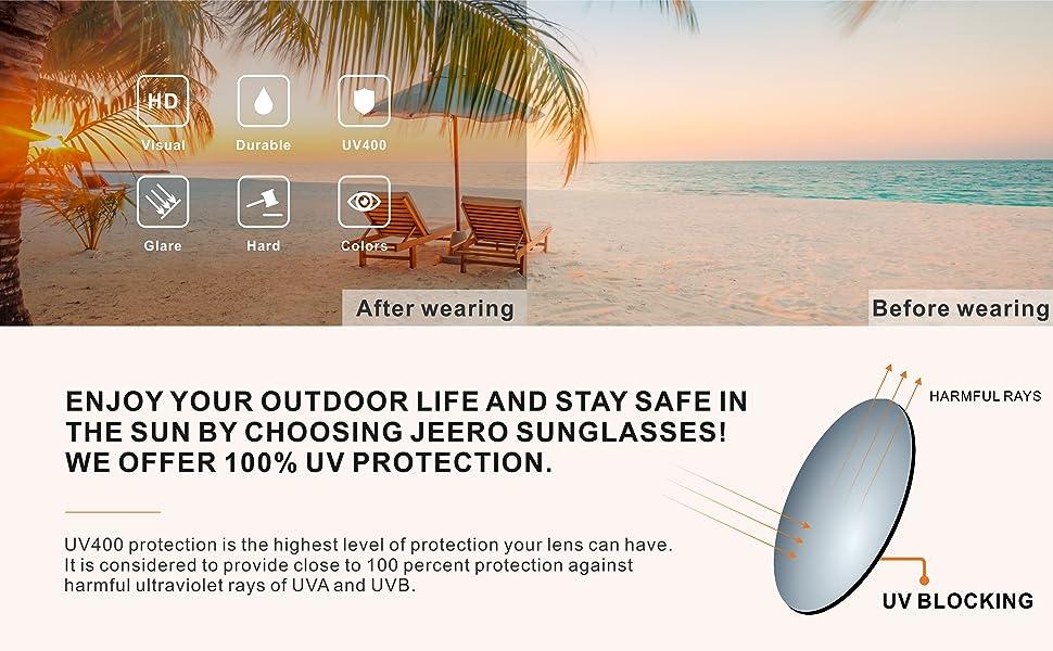 Oversize Sunglasses Polarized for Women Men UV400 Protection Durable Trendy JEERO Sun Glasses