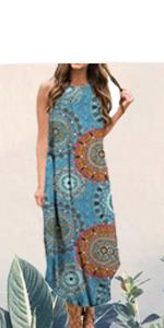 floral dress summer dress long dress maxi dress beach dress sleevless sundress casual loose dress