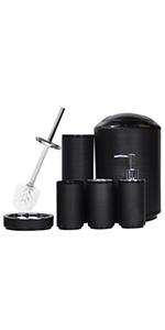 6 piece black bath accessories with swirl