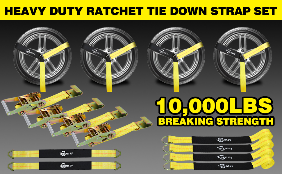 """5d42c4f0 4d38 4174 bbfd cfe1ae79ca3f. CR0,0,970,600 PT0 SX970 V1 - Trekassy 2""""x 120"""" Wheel Net Car Tie Down Straps Heavy Duty with Flat Hooks, 3333lbs Safe Working Load, 4 Pack Ratchet for Trailers with 8 Tire Straps, 2 Axle Straps"""