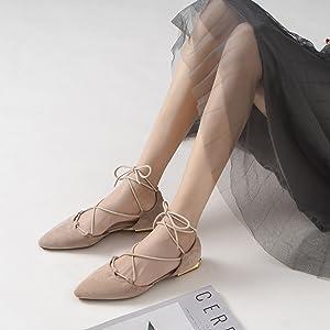 ankle tie flat