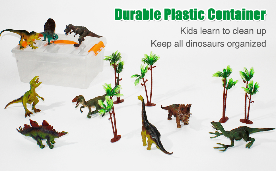 Dinosaur toys comes with a clear plastic storage