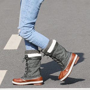 Fashion cold weather waterproof knee high faux fur lined wide calf winter snow boots