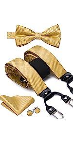 gold suspender bowtie set