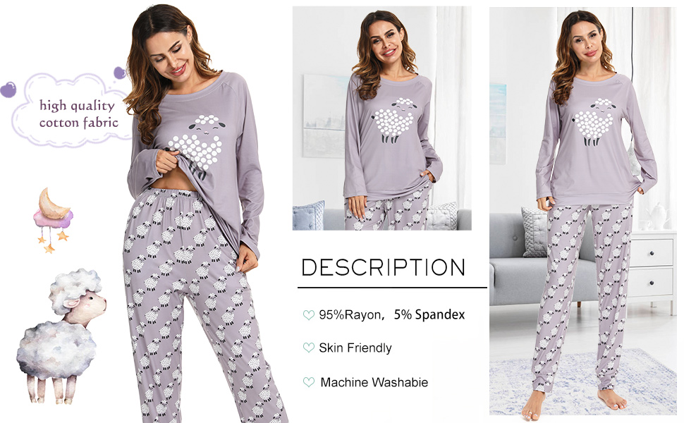 women's long sleeve pajamas set sheep printed sleepwear lounge nightgowns pocket oversize nightwear