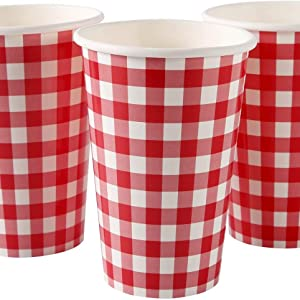 Paper Cup Buffalo Checkered Plaid Pattern for Picnic Barbecue