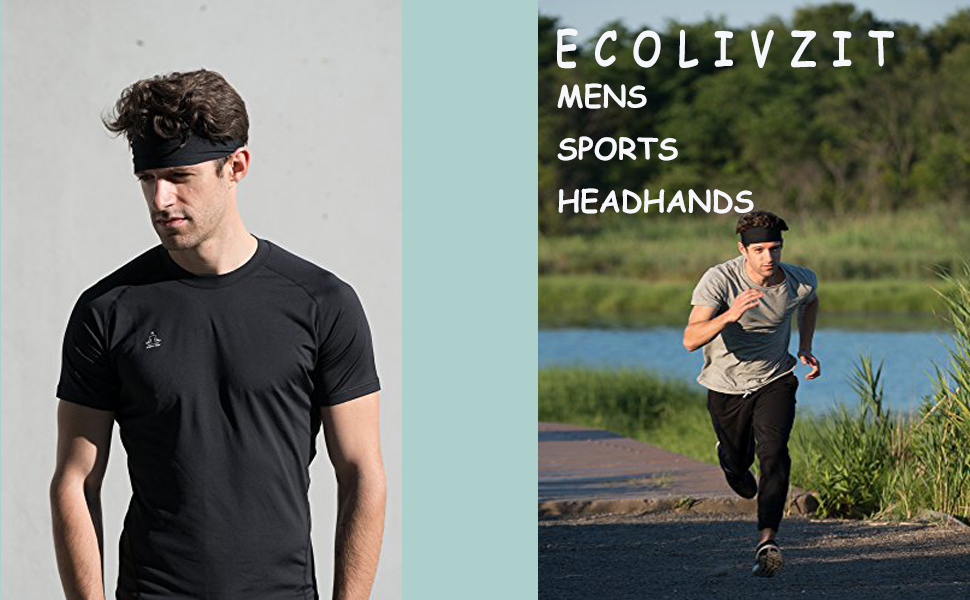 Yoga ECOLIVZIT Mens Headband 3 Pack Crossfit Running Mens Sweatband /& Sports Headband for Fitness,Workout Basketball Cycling Cooling Breathable Moisture Wicking Unisex Soccer,Tennis