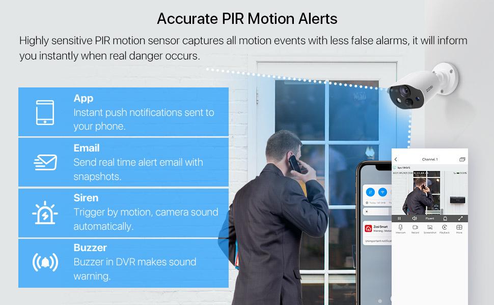 PIR motion alerts