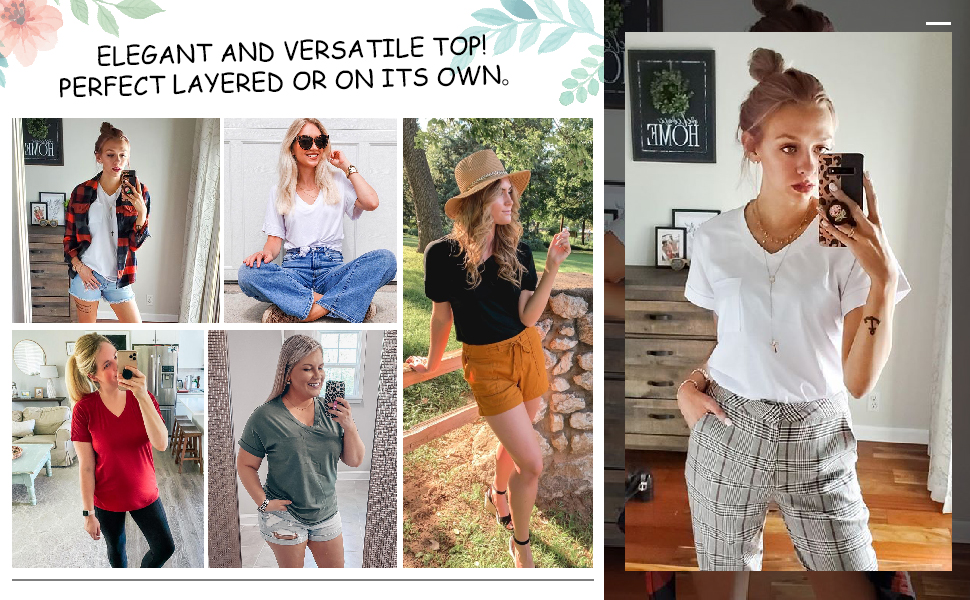 rolled short sleeve summer tops for women vneck tunic tops loose cloth plus size  pocket casual fit