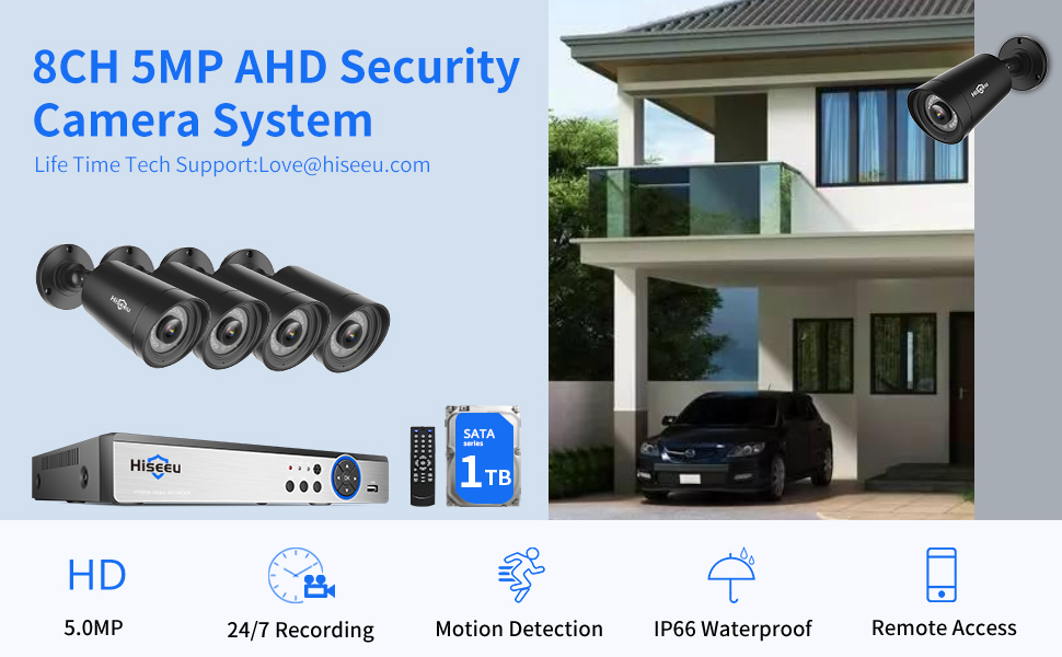 5MP Wired Security Camera System